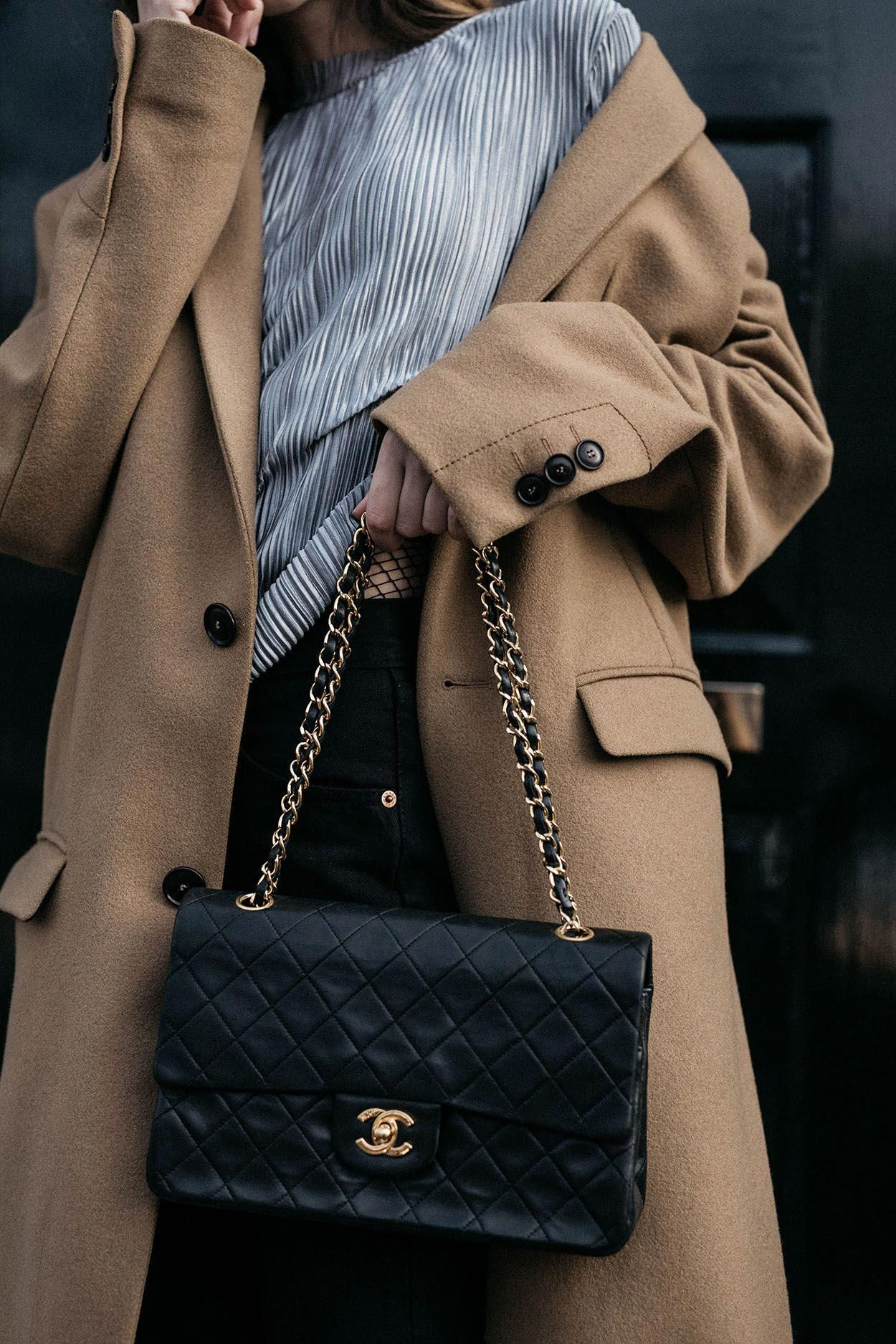 62dba25cb7b840 The Ultimate Classics vintage Chanel 2.55 flap bag masculine camel coat  fashion styling • The Fashion Cuisine #WomensShoulderbags