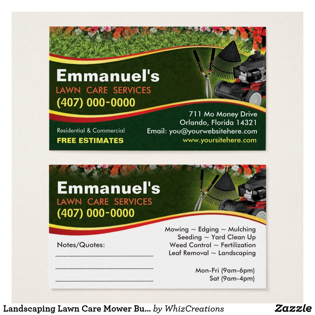 Landscaping Lawn Care Mower Business Card Template Zazzle Com Lawn Care Business Card Template Landscaping Business Cards
