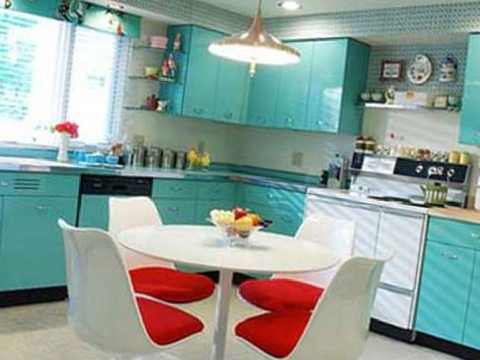 Retro L Shaped Light Blue Kitchen with Red Accents- #kitchen #redandteal