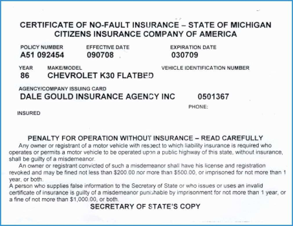 The inspiring Free Fake Auto Insurance Card Template ...