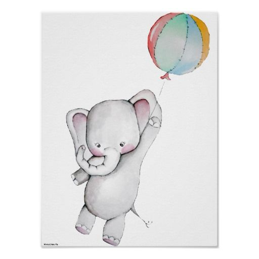 baby elephant with balloon customizable poster babies sketches and elephants. Black Bedroom Furniture Sets. Home Design Ideas