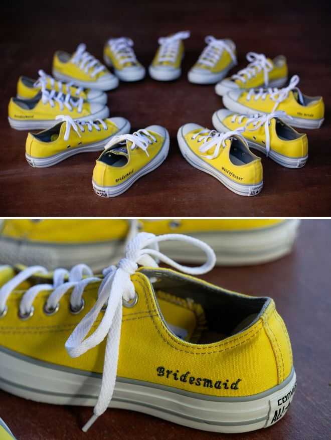 423c6f89a14b Custom yellow converse personalized for each bridesmaid to dance in at the  reception!