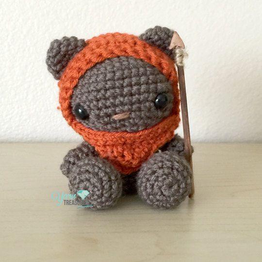 Crochet Ewok teddy bear in Amigurumi style with spear--RESERVED ...