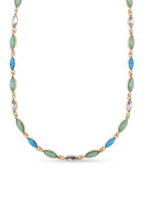 Nine West Vintage America Collection  Antiqued Gold-Tone Collar Stone Necklace