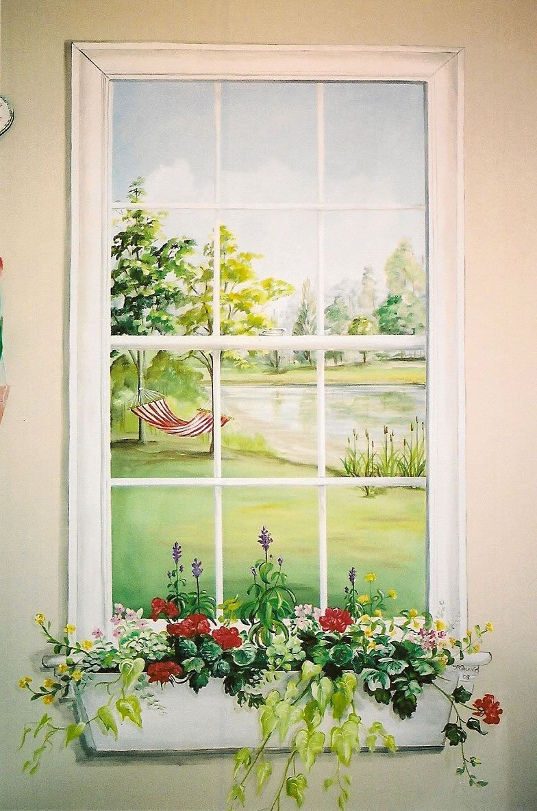 Window mural. What a lovely idea for a dark windowless hall way ...
