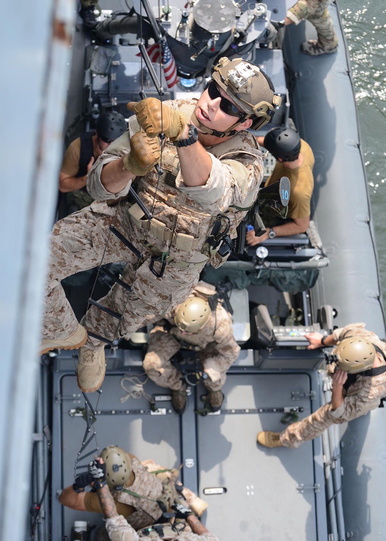 130716 N At856 006 Virginia Beach Va July 16 2017 U S Navy Seals Sea Air And Land Climb A Caving Ladder During Visit Board Search Seizure
