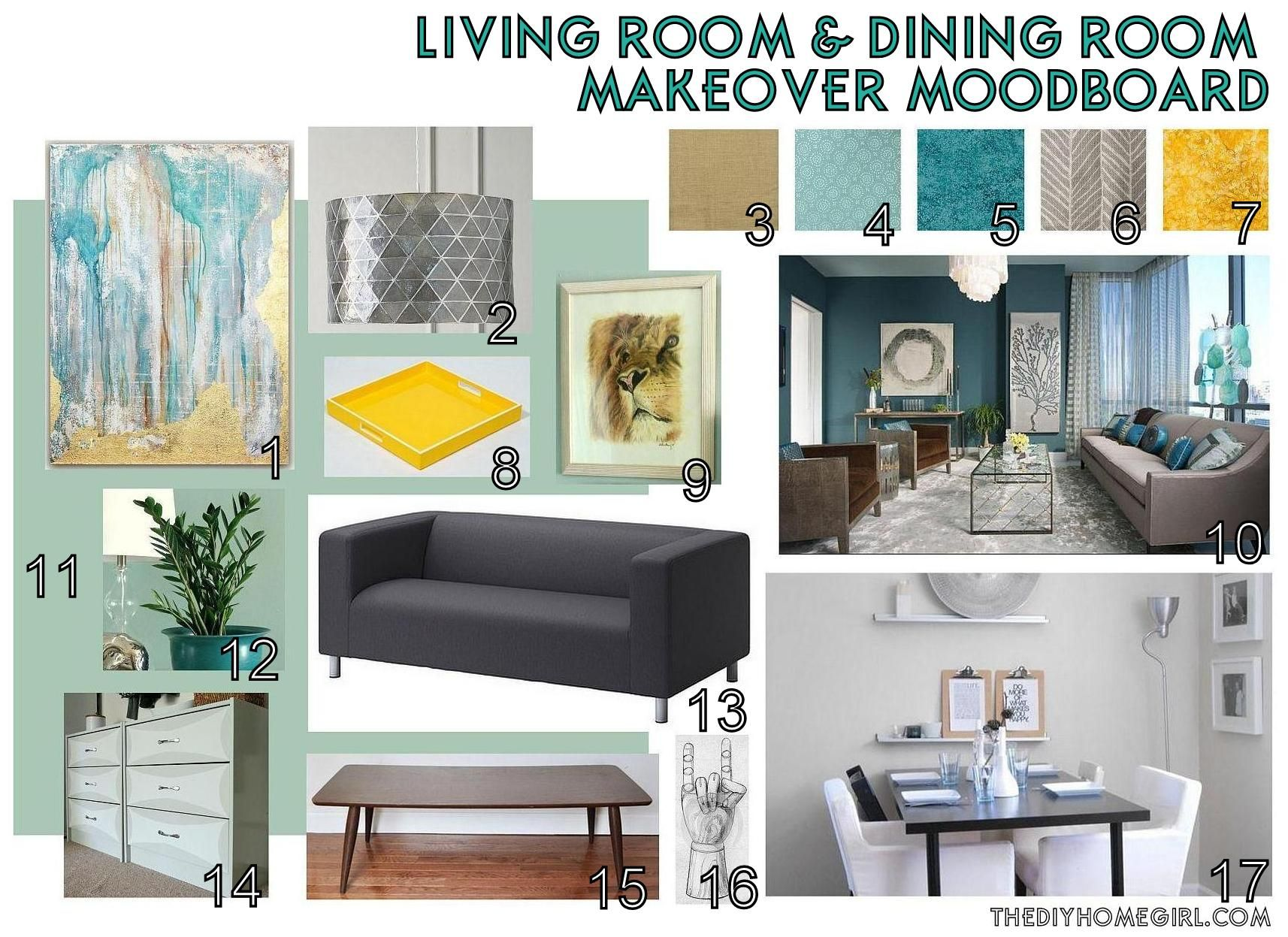 Living Room Dining Room Makeover Moodboard The DIY Homegirl Aqua Teal Gold  Mid Century Modern Eclectic
