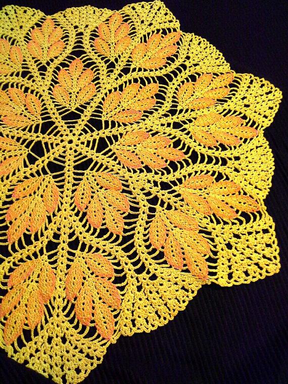 Yellow crochet doily Crochet napkin Lace doily Crochet round doily ...
