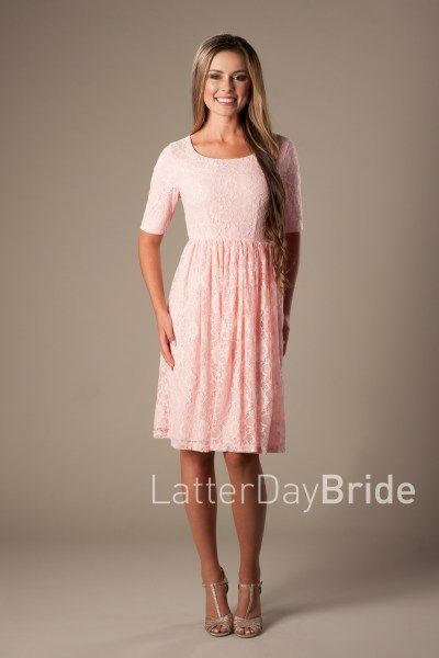 12c7fef9099 Modest blush bridesmaid dress by LatterDayBride   Prom with lace and a  darling A-Line shape.