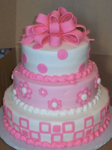 Pink 3 Layered Cake Tier Single Layers Cake For 50 3 Tier