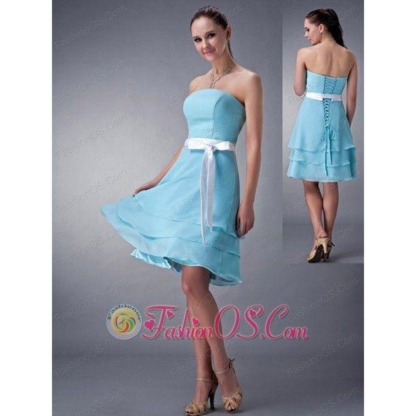 Impression Aqua Blue Empire Strapless Bridesmaid Dress