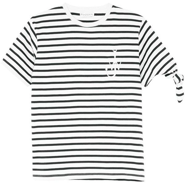 08bf7767 JW Anderson 'Breton Stripe' embroidered logo unisex T-shirt (450 BGN) ❤  liked on Polyvore featuring tops, t-shirts, sleeve top, white knot top,  knot top, ...
