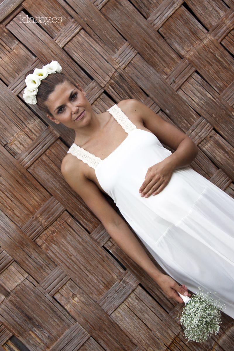 Vestido de novia para embarazada BRECO en punto de seda | Vestidos ...