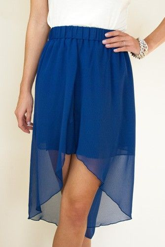 The high low trend is a staple for Summer and will return in the Fall, so scoop up this cobalt blue skirt to add to your collection! Pair with a crisp white shirt for a chic look or use it as a color blocking item. It's lightweight, comfortable and effortlessly chic.  $34.50