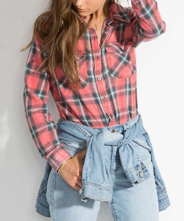 Another great find on #zulily! Rad Red Plaid Flannel Frenzy Button-Up #zulilyfinds