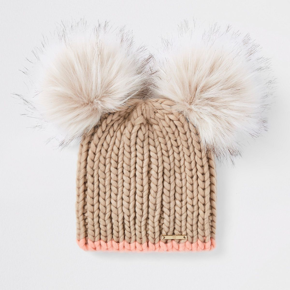 River Island Beige faux fur double pom pom beanie hat in 2019  17bc167a8588
