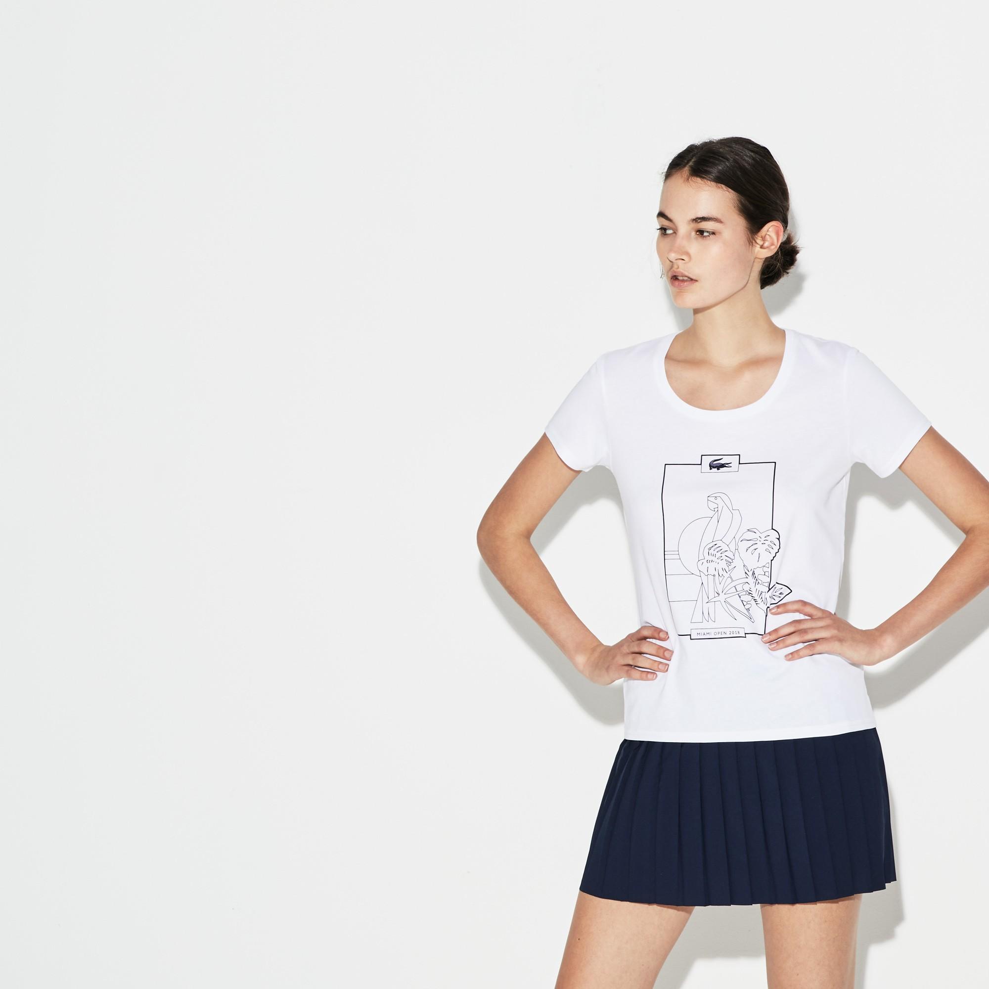 bac6eae6d Lacoste Women's Sport Miami Open Design Jersey Tennis T-Shirt - Silver/Navy  Blue 10