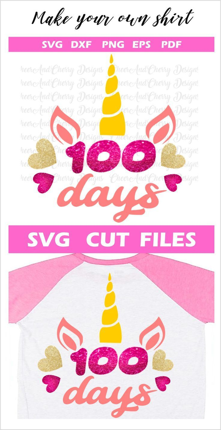 100 days of school svg for girl, 100 days Unicorn Svg files for Cricut Silhouette Iron on, School