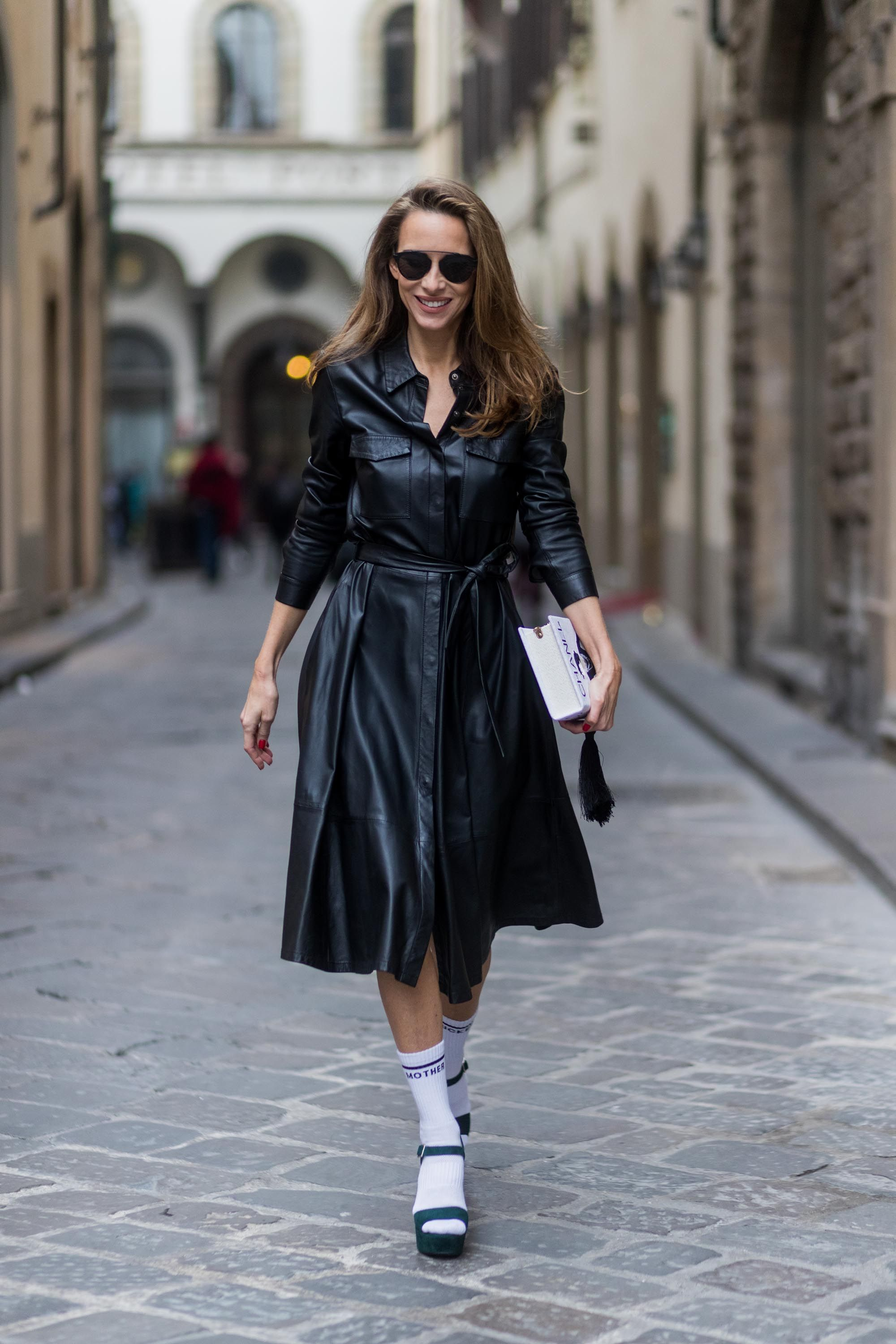 92929366d Alexandra Lapp street style in Florence | LEATHER | Dresses, Shirt ...