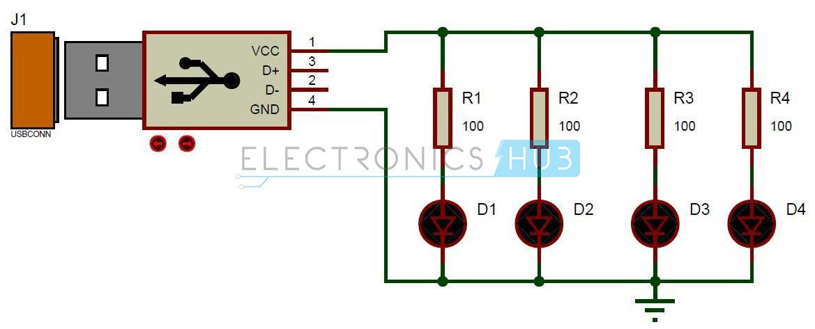 Usb led lamp circuit electronic projects pinterest circuit here is the simple usb led light circuit diagram and its working it produces an output of 5v it may be used as emergency light and also as a reading lamp ccuart Images