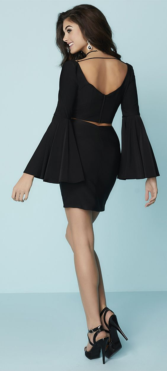 FALL 17 // Style 27182 |  Two-piece dress features a fitted silhouette, body con stretch fitted design, criss cross front plunge bust lace-up neckline, V-neck with bell sleeves jersey pencil skirt. Center zipper. #HannahS #HoCo #Homecoming