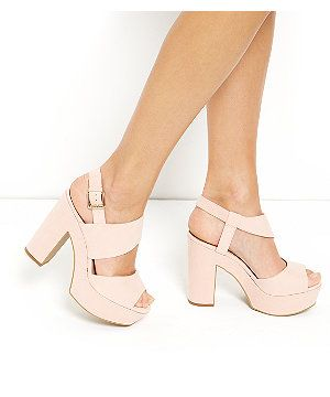 cdb7e35c74a6 Wide Fit Pink Chunky Ankle Strap Block Heels