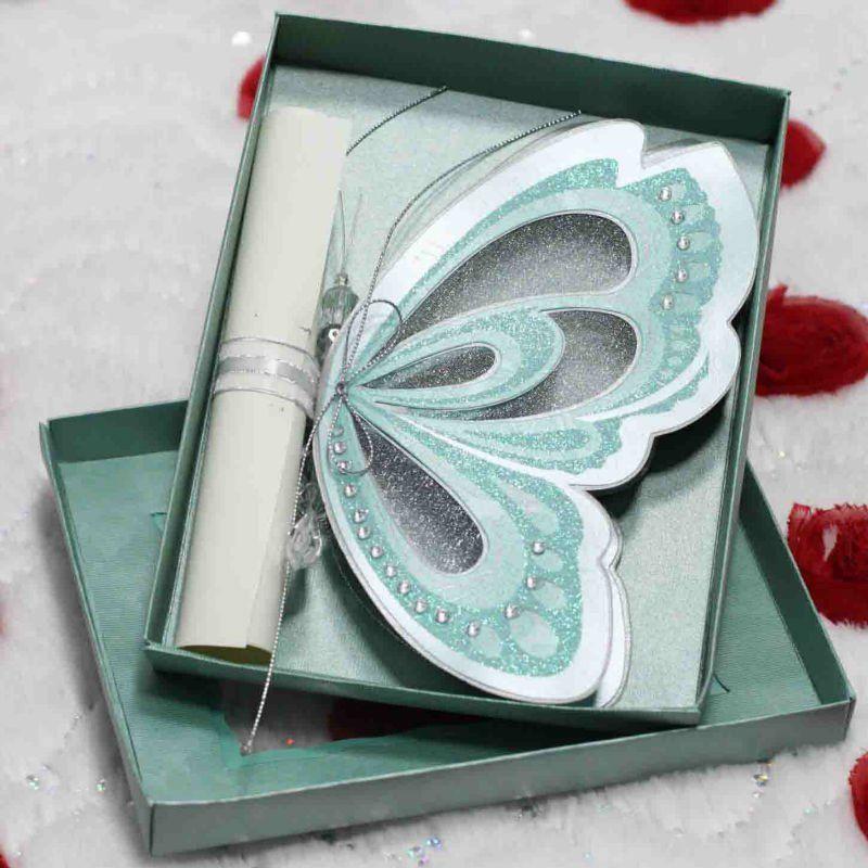 China Beautiful Butterfly Shape Wedding Invitation Card Factory