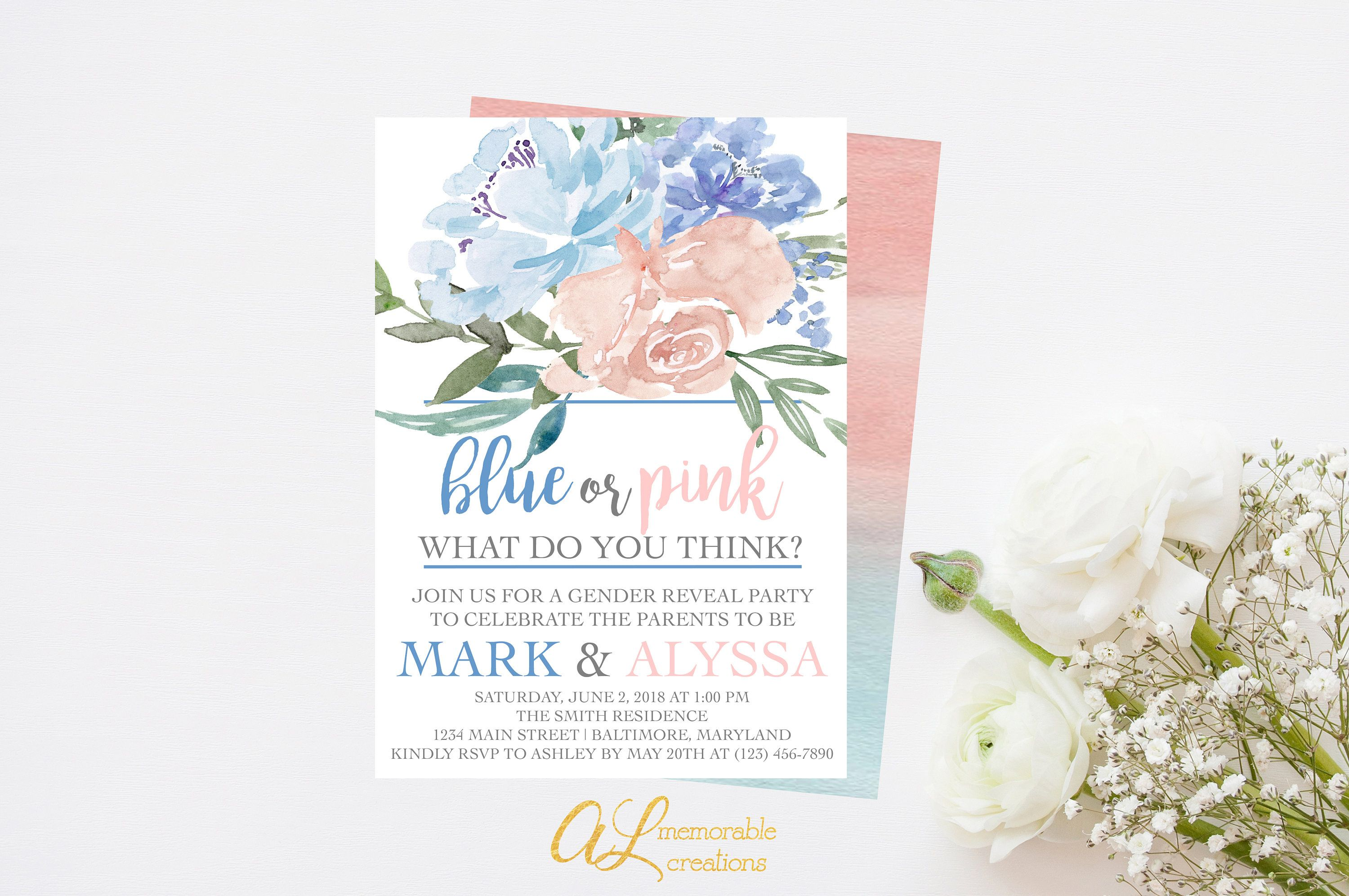 Floral Gender Reveal Invitation Blue Or Pink Gender Reveal