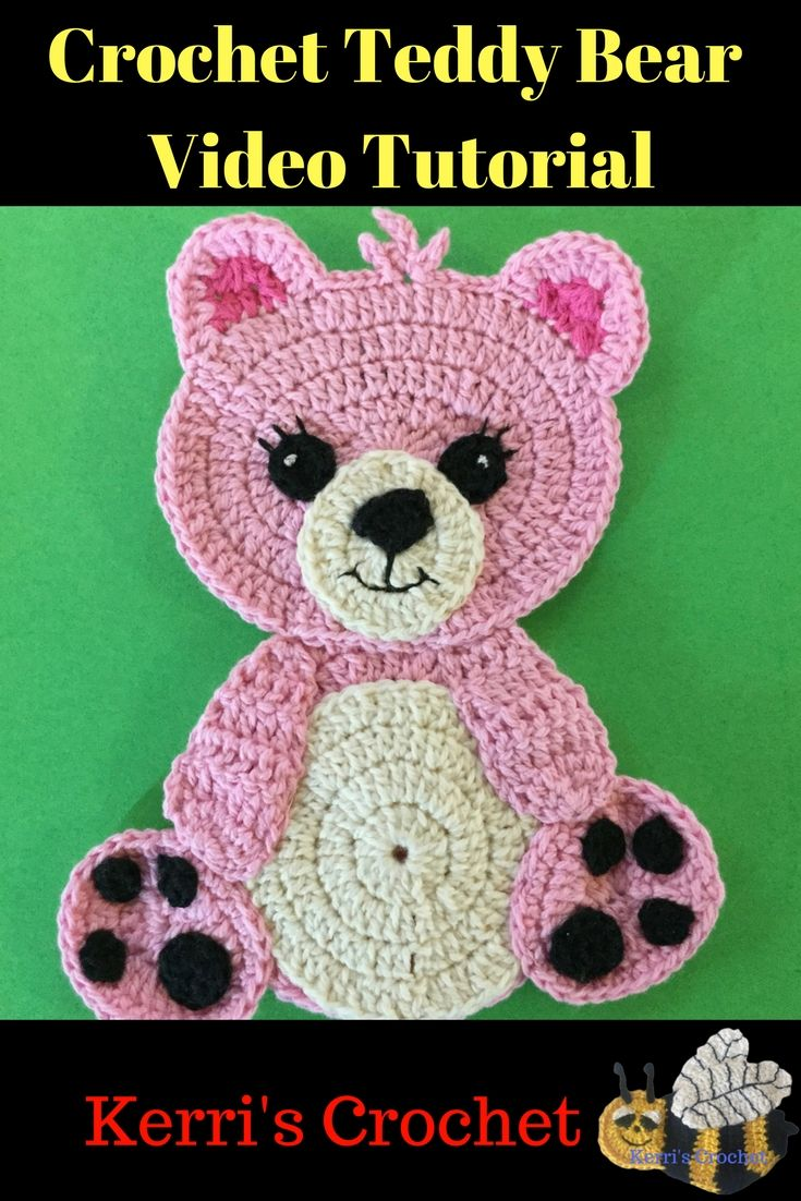Learn how to make this crochet teddy bear appliqué with my video ...