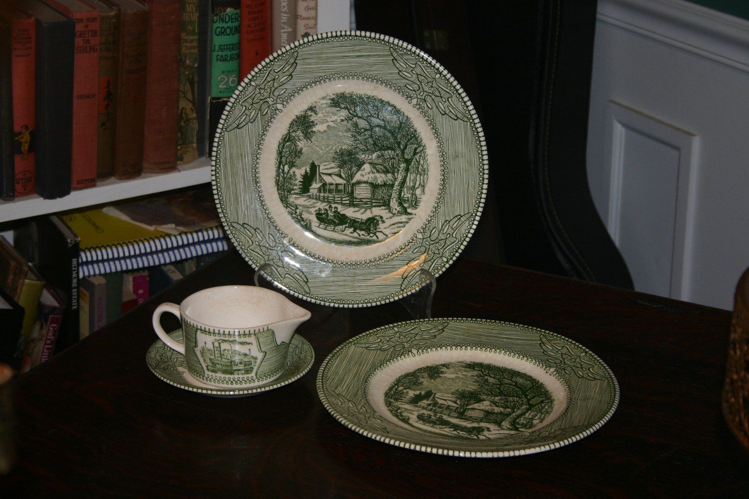 Vintage Mount Clemens China Green/White Ironstone plates and pitcher made in USA & Vintage Mount Clemens China Green/White Ironstone plates and ...