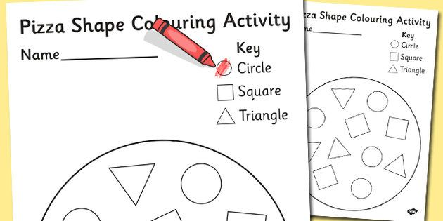 shape pizza colouring activity - Shape Colouring Pictures