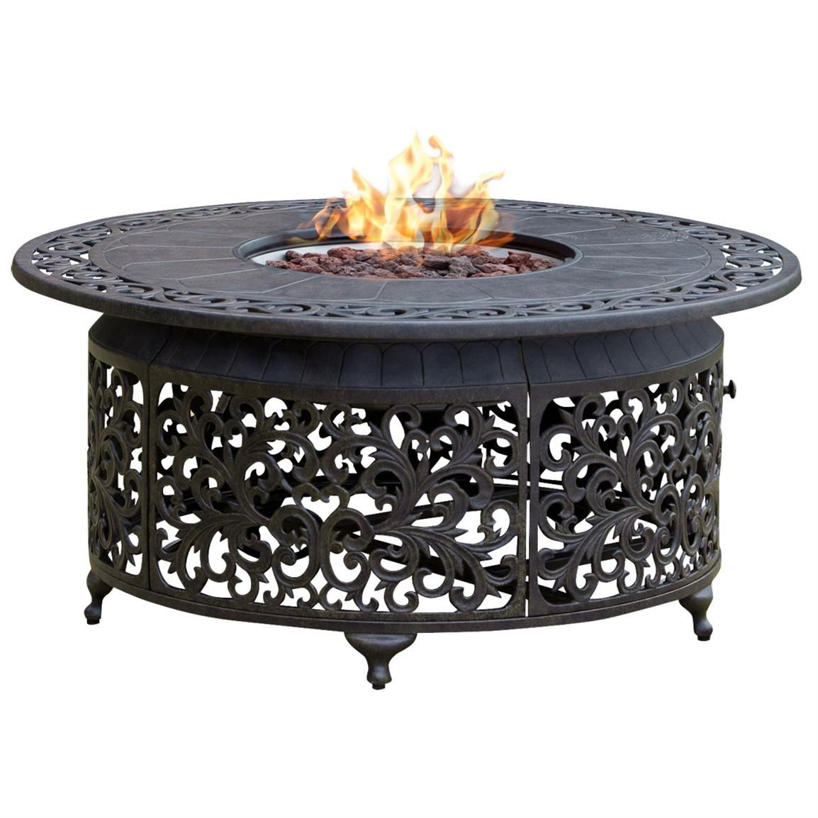 Propane Cast Aluminum Fire Pit With Scroll Design Click To View Full Size Image Propane Fire Pit Table Outdoor Propane Fire Pit Fire Pit