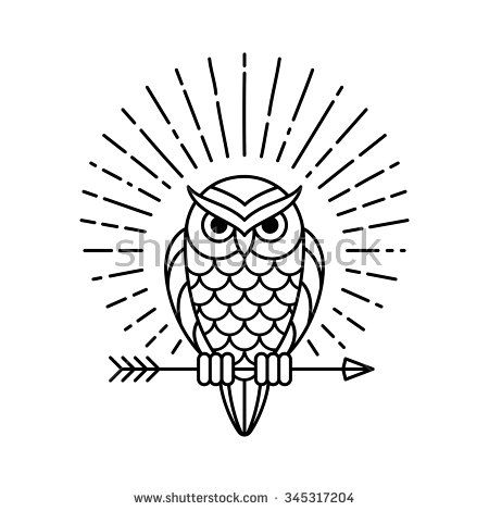 owl outline emblem in geometric hipster style with arrow and beams 14 X 5 I Beam owl outline emblem in geometric hipster style with arrow and beams vector line icon