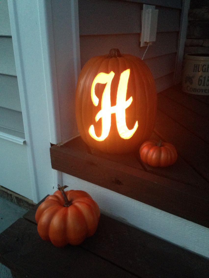 Fall decoration - carved styrofoam pumpkin