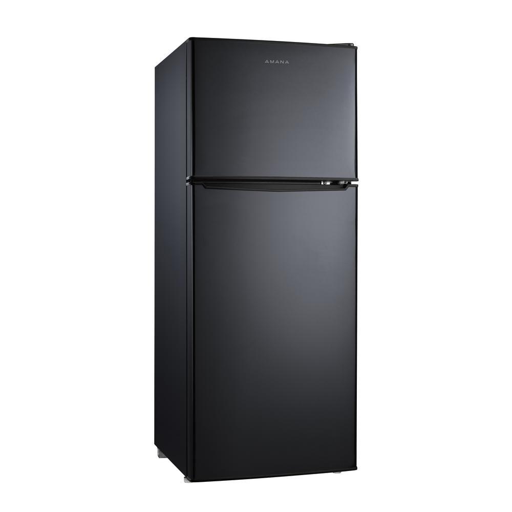 Amana 4 6 Cu Ft Mini Refrigerator With Dual Door True Freezer In Black True Freezer Mini Fridge Color Refrigerator