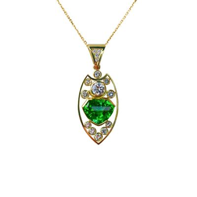 Tourmaline & Diamond Pendant - The Goldsmiths & Silversmiths Co. Collection