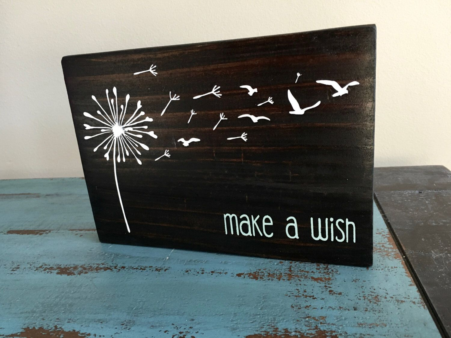 Wall Sign Decor Classy Rustic Hand Painted Make A Wish Dandelion Wood Signwall Decor Design Inspiration