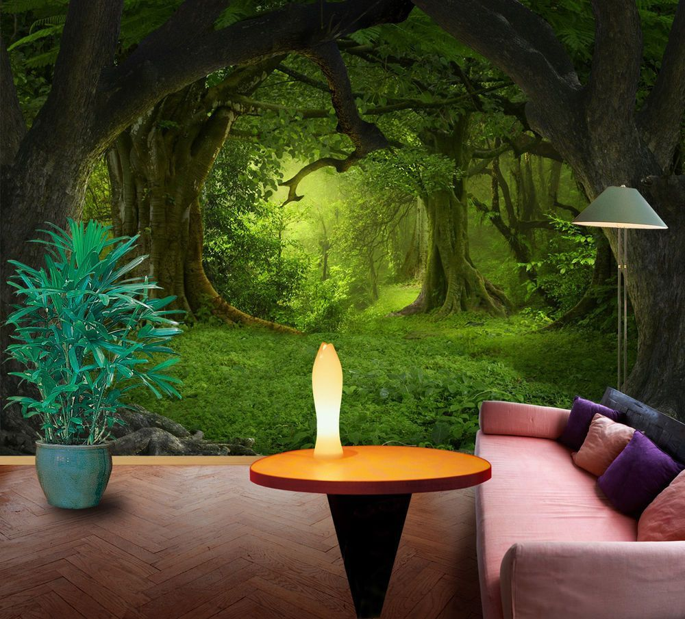 3D Dark green forest 1 Wall Murals Wallpaper Decal Decor