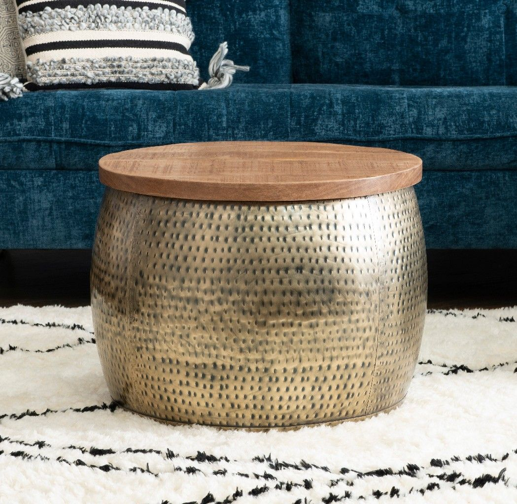 Royce Gold Drum W Storage Powell D1241a19g In 2021 Drum Coffee Table Coffee Table With Storage Round Wood Coffee Table [ jpg ]