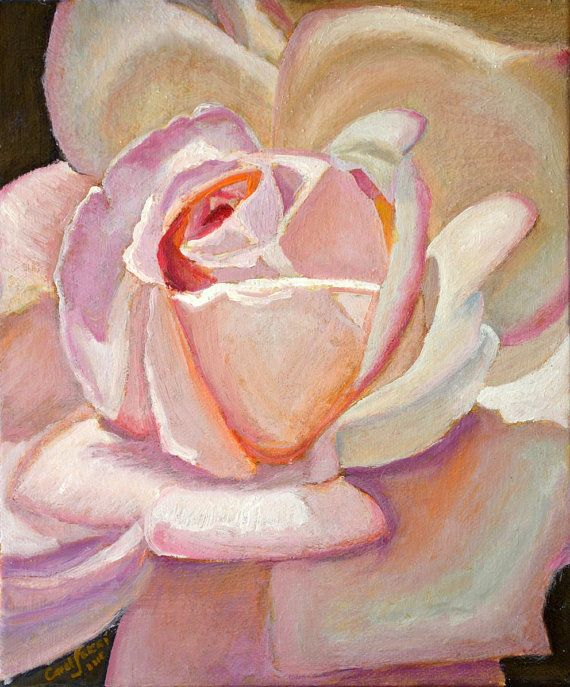 Floral Oil Painting entitled Embrace. created by Carol S Sakai, Fine Artist. The petals of the white rose are enfolding like a gentle caress that feels…