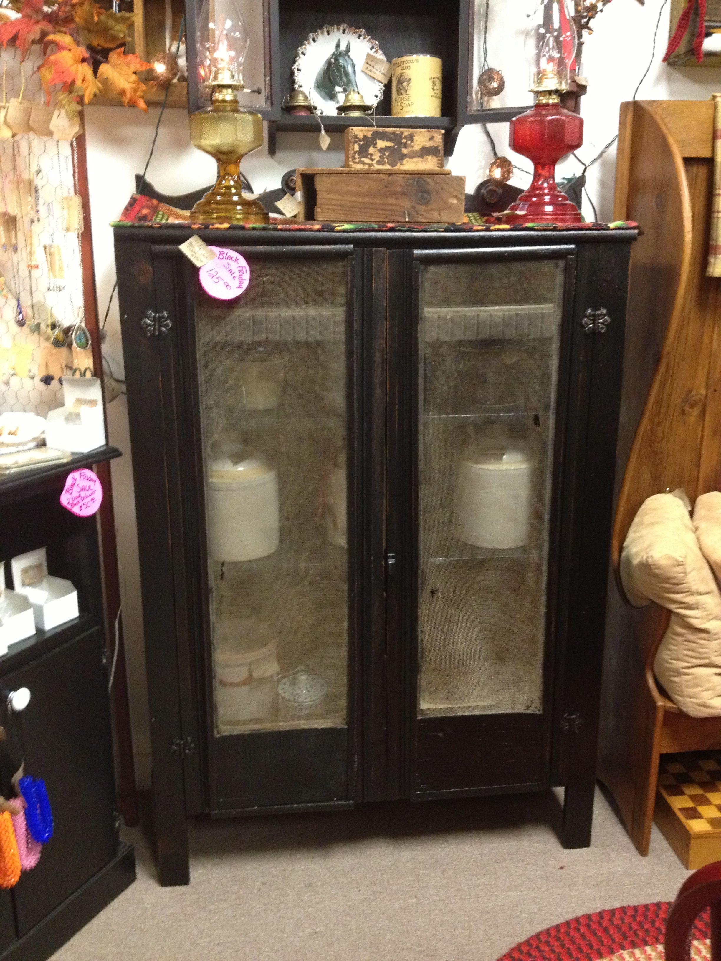 Distressed black cabinet | Black cabinets, Decor, Cabinet