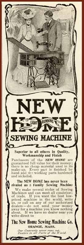 1903 AD FOR THE NEW HOME LIGHT RUNNING SEWING MACHINE