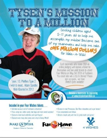 Kids Needed to Help Tysen (13 years old) Complete His Mission of Raising one Million Dollars for Make-A-Wish!