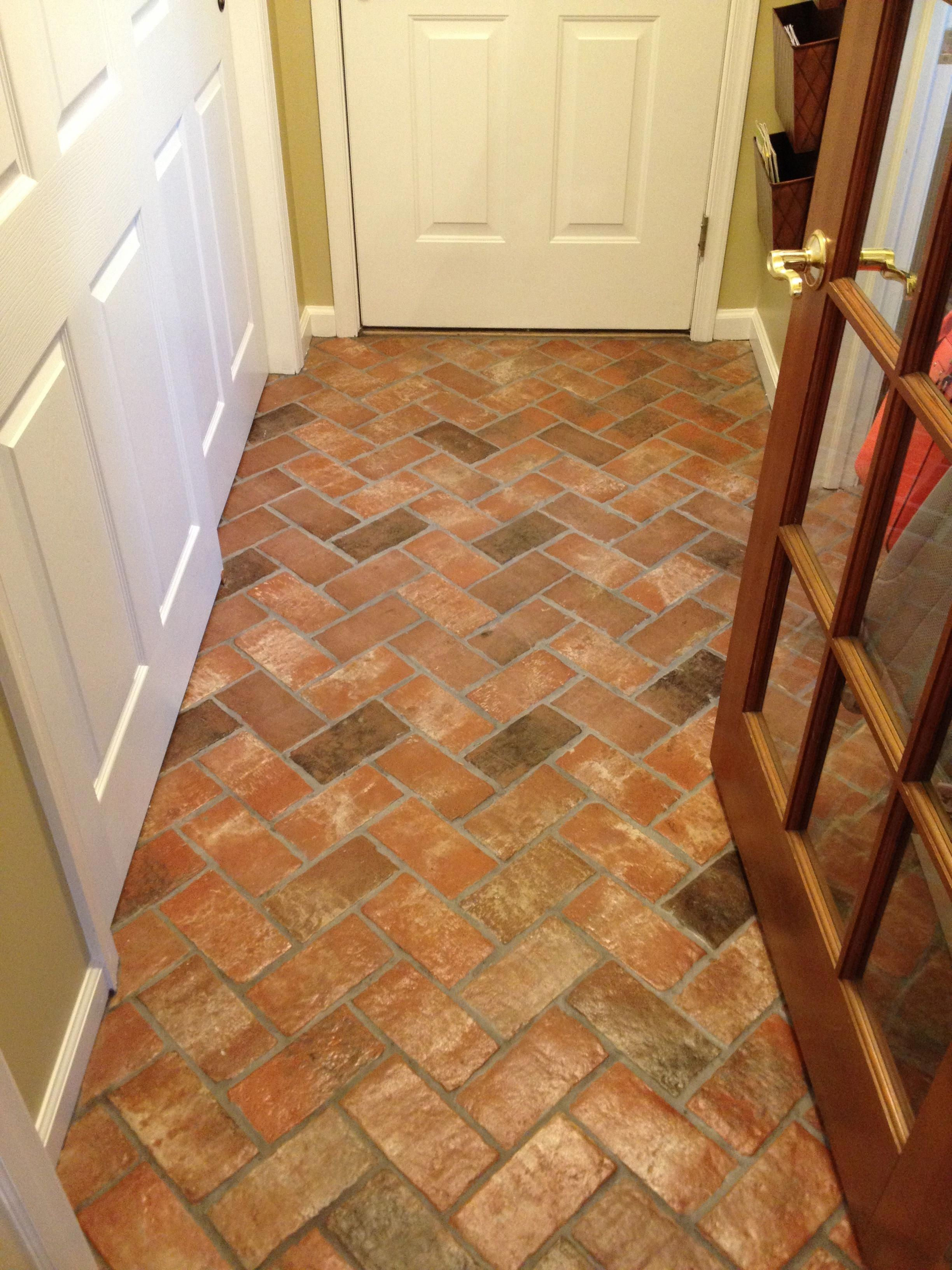 Wright S Ferry Brick Tile Floor Marietta Color Mix With A Shiny Sealer Interioranglesdefinition Brick Tiles Brick Floor Kitchen Brick Tile Floor