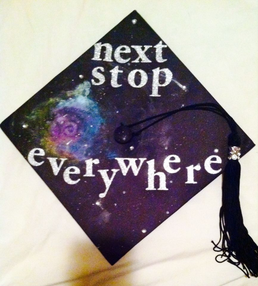 "Nerdy Graduation Caps Doctor Who catchphrase ""Next Stop Everywhere"" is the perfect quote for the nerdy graduate! Hand painted galaxy with jeweled stars and sparkly letters will make you stand out at any ceremony!!"