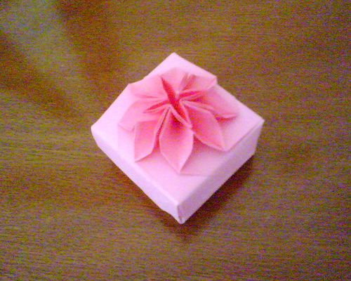 Pink origami flower box flower boxes origami and box pink origami flower box mightylinksfo