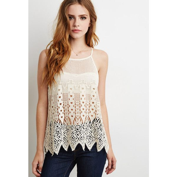Forever 21 Women's  Open-Crochet Cami ($23) ❤ liked on Polyvore featuring tops, white camisole, white cami, cotton cami, cotton camisole and forever 21