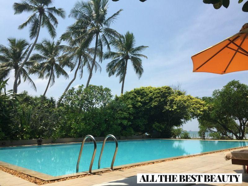 I love traveling!  In Sri Lanka by the pool  www.AllTheBestBeauty.com