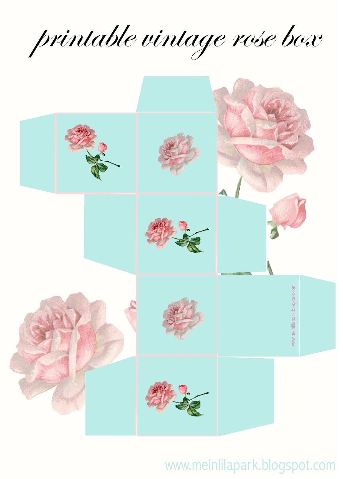image about Printable Gift Box called cost-free printable common rose present box - ausdruckbare