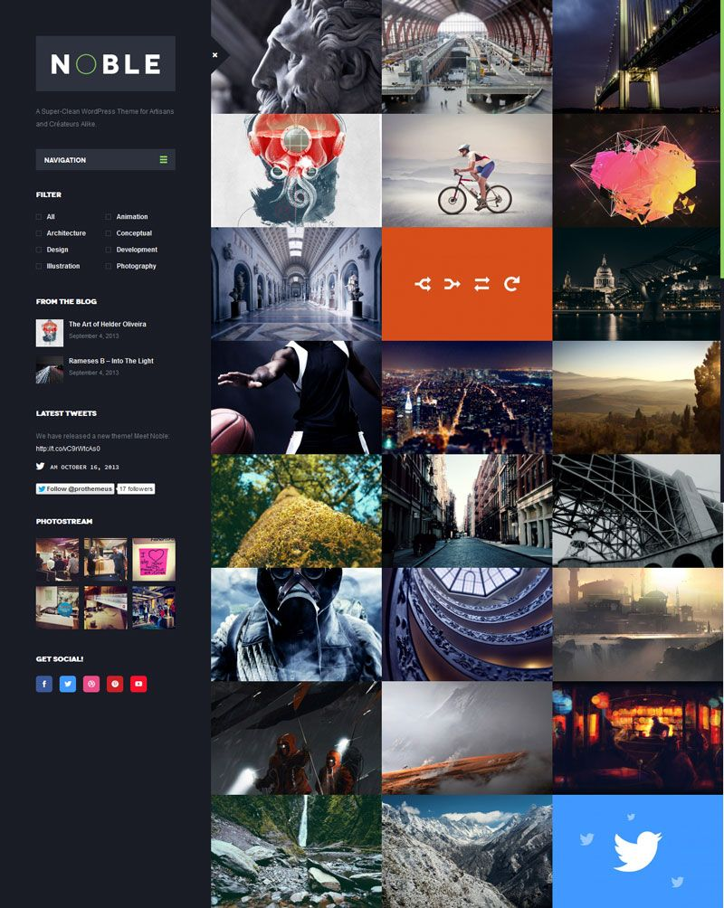 A Super Clean WordPress Theme For Artisans And Createurs AlikeNoble Is An Interactive Highly Customizable Photography Portfolio